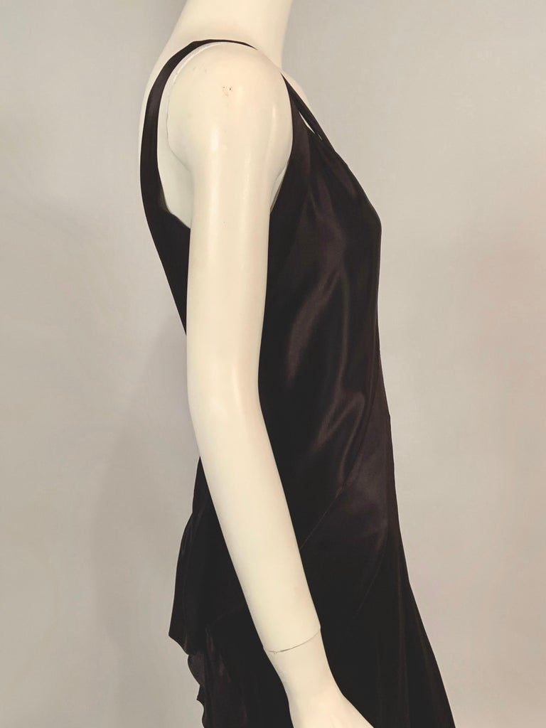 1930's Bias Cut Black Silk Satin Evening Gown with Ruffled Back For Sale 2