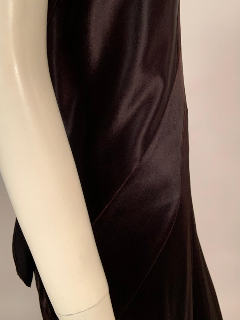 1930's Bias Cut Black Silk Satin Evening Gown with Ruffled Back For Sale 3