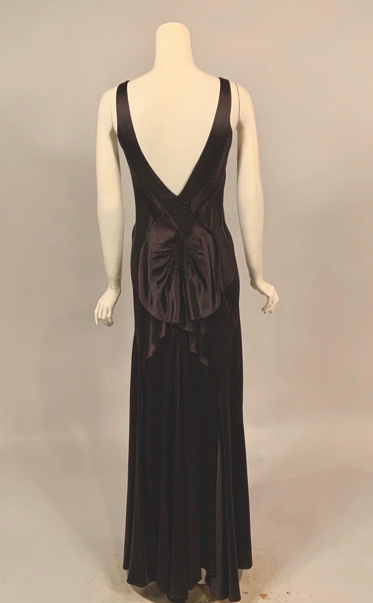 1930's Bias Cut Black Silk Satin Evening Gown with Ruffled Back For Sale 4