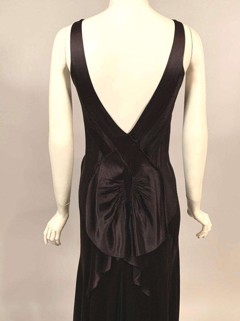 1930's Bias Cut Black Silk Satin Evening Gown with Ruffled Back For Sale 5