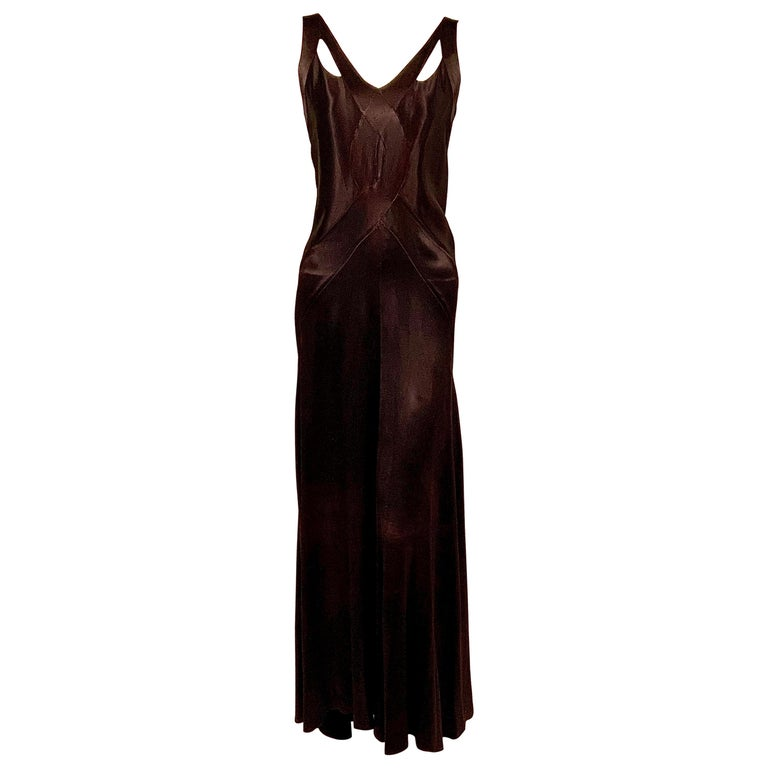 1930's Bias Cut Black Silk Satin Evening Gown with Ruffled Back For Sale
