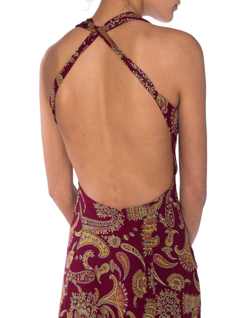 1930s Bias Cut Paisley Rayon Dress For Sale 6