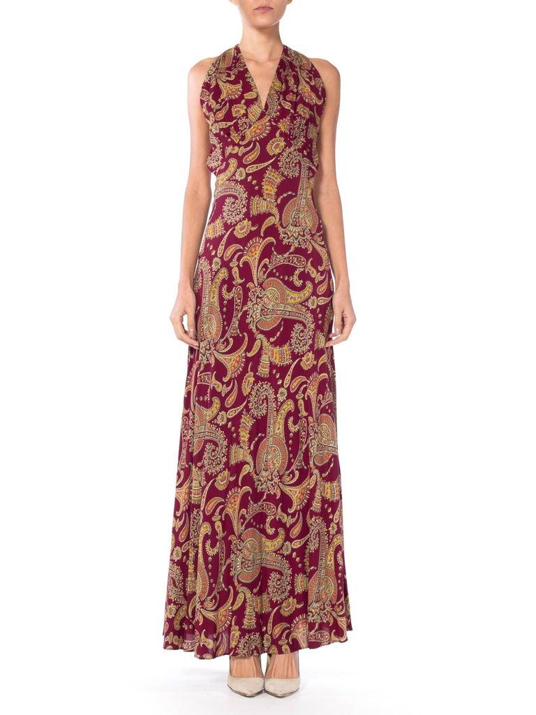 Brown 1930s Bias Cut Paisley Rayon Dress For Sale