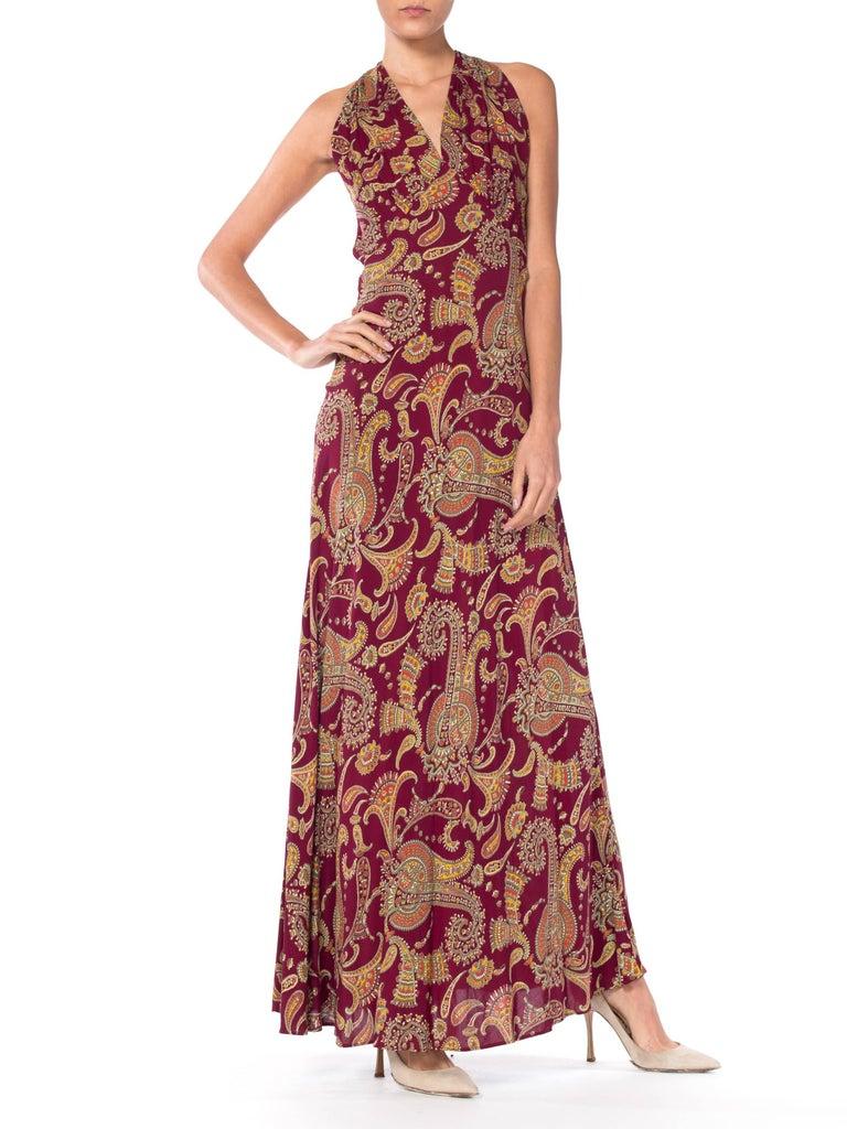 Women's 1930s Bias Cut Paisley Rayon Dress For Sale