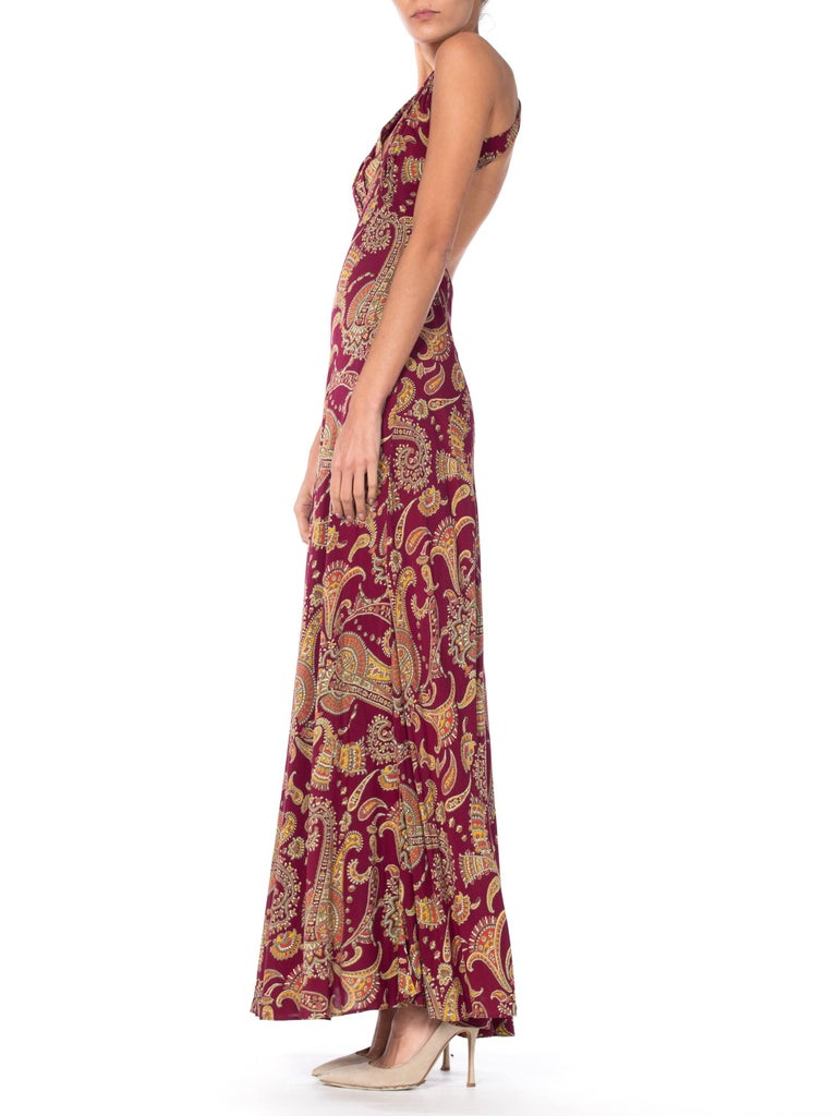 1930s Bias Cut Paisley Rayon Dress For Sale 1