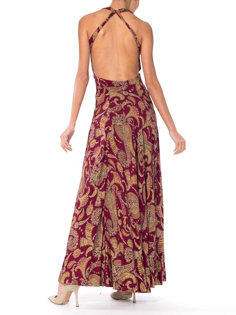 1930s Bias Cut Paisley Rayon Dress For Sale 2