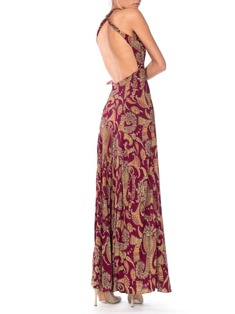 1930s Bias Cut Paisley Rayon Dress For Sale 3