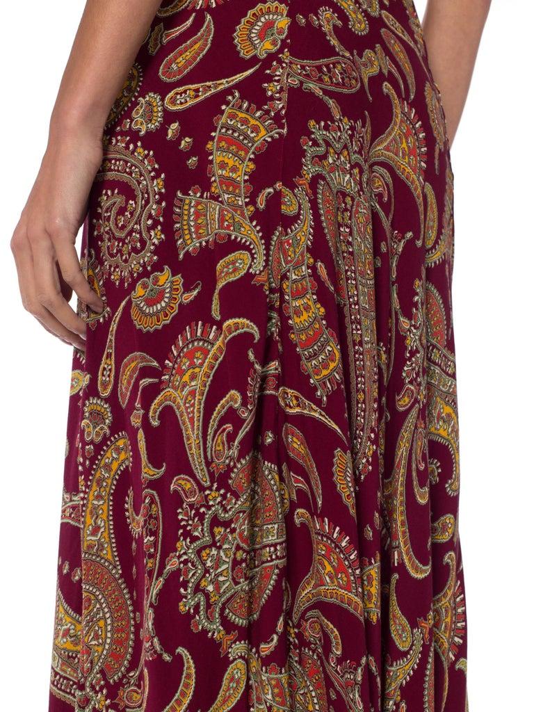 1930s Bias Cut Paisley Rayon Dress For Sale 5