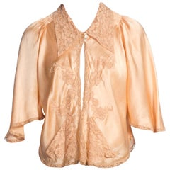1930s Bias Cut Silk & Lace Bed Jacket