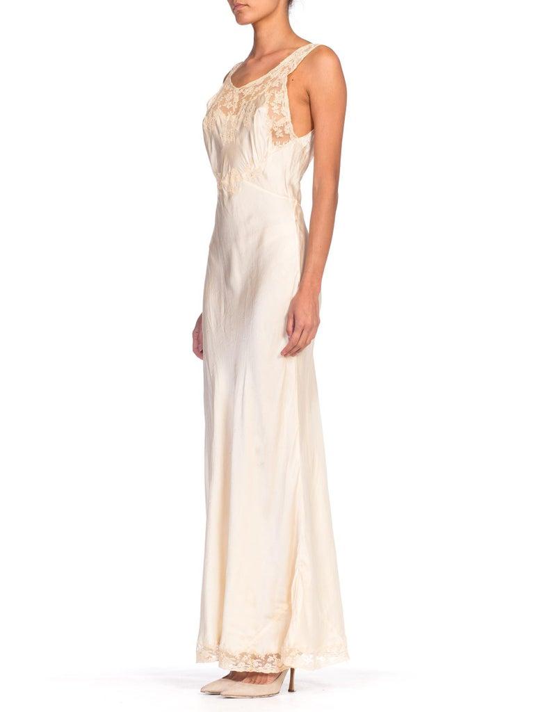 White 1930S Bias Cut Silk + Lace Negligee Slip Dress For Sale