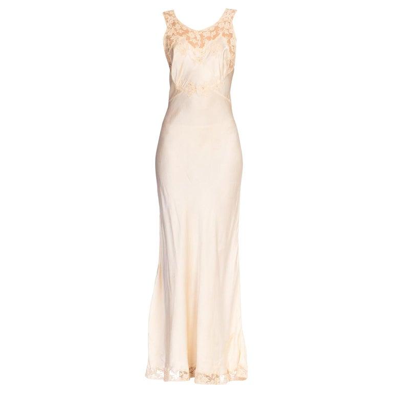 1930S Bias Cut Silk + Lace Negligee Slip Dress For Sale