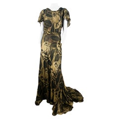 1930s Black and Gold Lamé Evening Gown