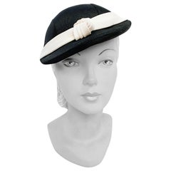 1930s Black and White Day Hat