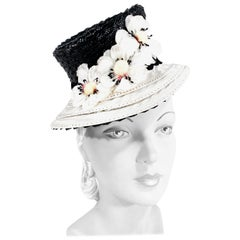 1930s Black and White Woven Straw Toy Hat