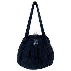 1930s Black Art Deco Twill Evening Handbag with Lucite Closures