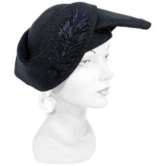1930s Black Art Deco Woven Hat with Leaf Accent