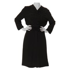 1940S Black Silk Faille Long Sleeve Polka Dot Beaded Cocktail Dress Gathered On