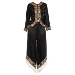 1930S Black Chinese Silk Satin Cocktail Lounging Pajamas With Metallic Hand Embr