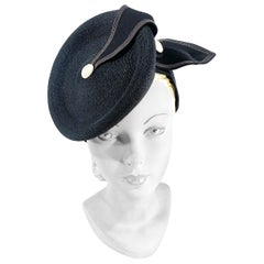 1930s Black Coated Straw Perch Hat with Nautical Theme