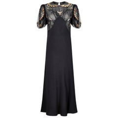 1930s Black Crepe Bias Cut Evening Dress with Embellished Neckline