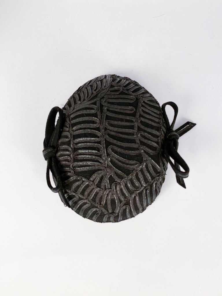 1930s Black Evening Hat With Raffia Decoration For Sale 1