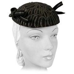 1930s Black Evening Hat With Raffia Decoration