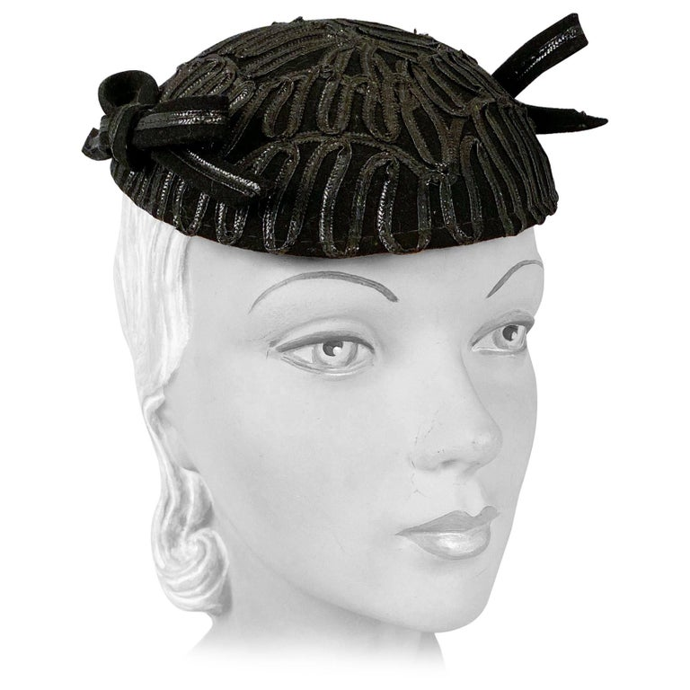 1930s Black Evening Hat With Raffia Decoration For Sale