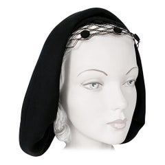 1930s Black Felt Hat with Netting and Back Details
