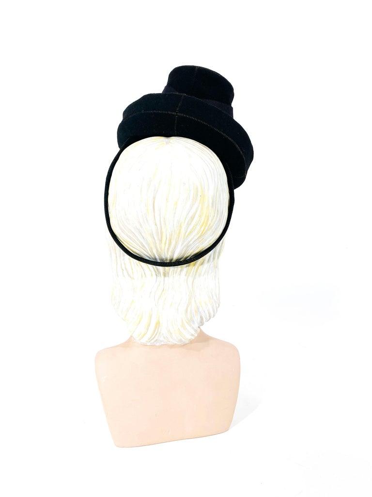 Women's 1930s Black Felt Toy Pilgrim Hat  For Sale