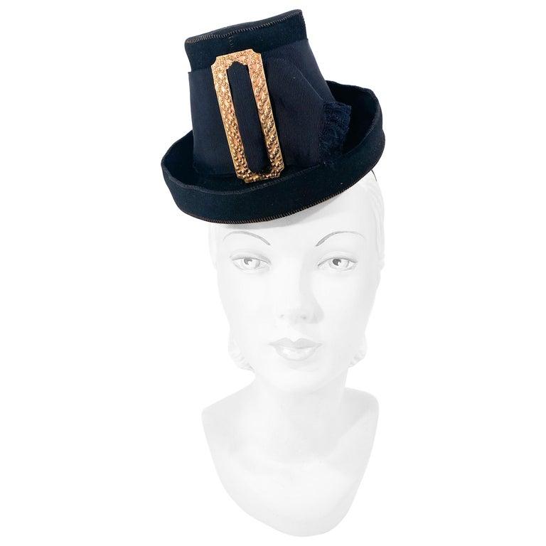 1930s Black Felt Toy Pilgrim Hat  For Sale