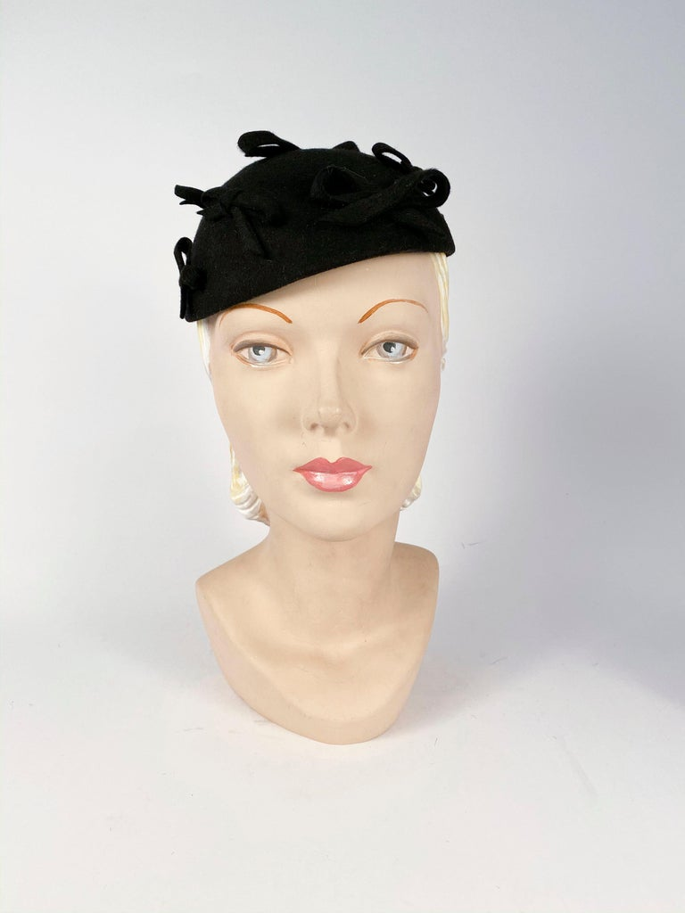 1930s Black Fur Felt Evening Hat with several Bows accenting the body of this hat.