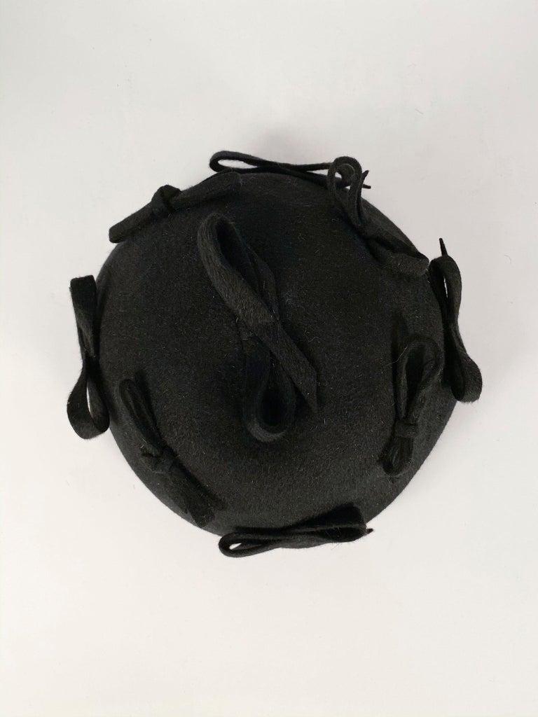 1930s Black Fur Felt Evening Hat with Bows For Sale 1