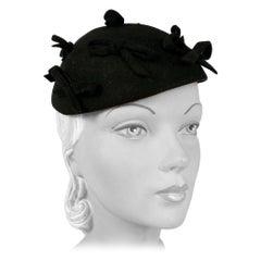 1930s Black Fur Felt Evening Hat with Bows