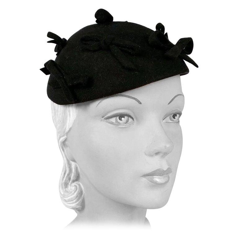 1930s Black Fur Felt Evening Hat with Bows For Sale