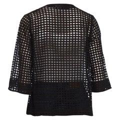 1930S Black Geometric Cotton Eyelet Lace Sheer Cardigan Jacket