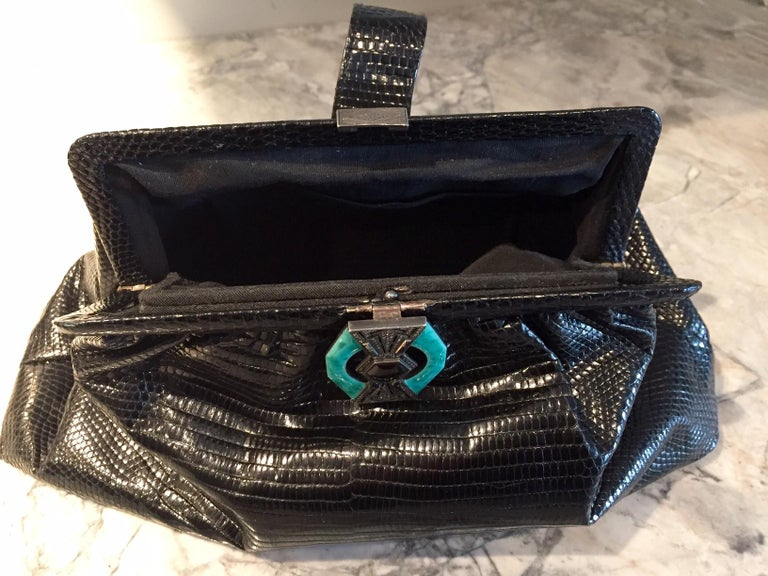 1930's Black Lizard Evening Bag Silver, Marcasite, Chrysoprase Onyx Clasp As New For Sale 1