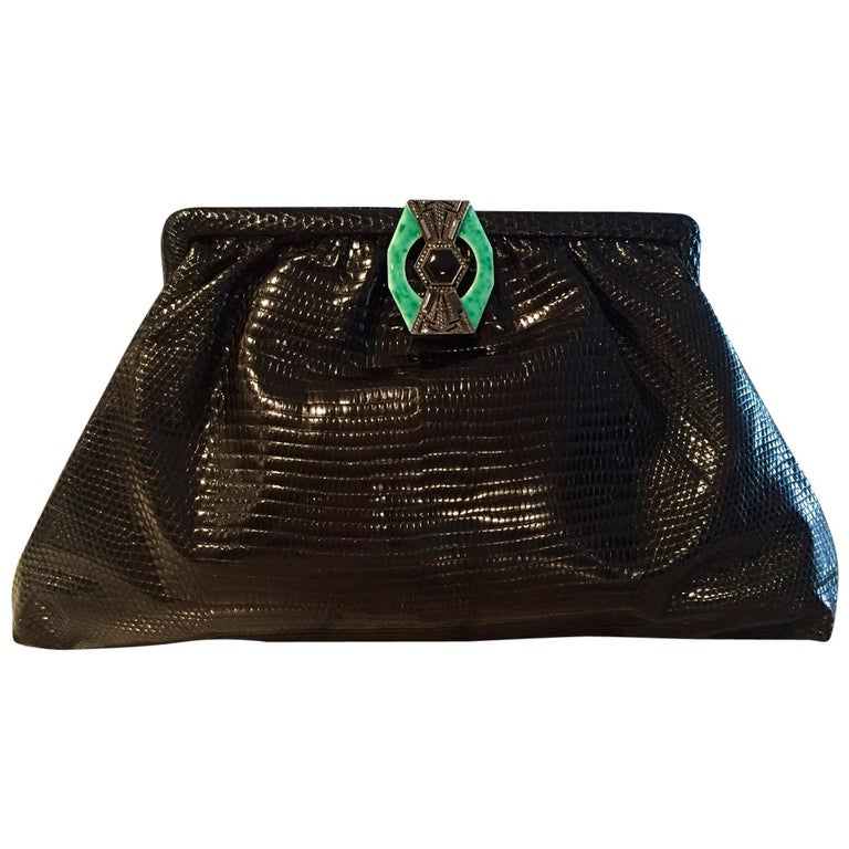1930's Black Lizard Evening Bag Silver, Marcasite, Chrysoprase Onyx Clasp As New For Sale