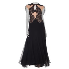 1930S Black & Nude Silk Chiffon Lace Gown With Attached Cape