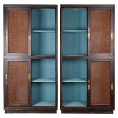 1930s Black Patinated Sliding Screen Door Cabinets, a Pair