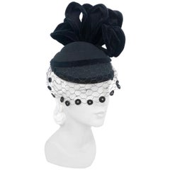 1930s Black Perch Hat with Structured Accents and Decorated Veil