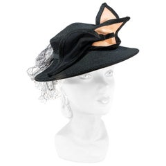 1930s Black Raffia Perch Hat with Art Deco Bow