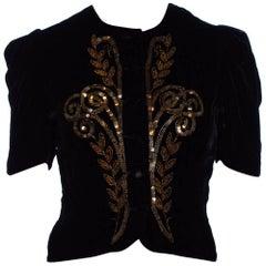 1930S Black Rayon & Silk Velvet Top With Copper Beading