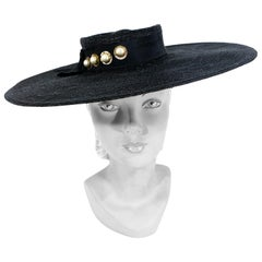 1930s Black Saucer Hat with Decorated Hat Band