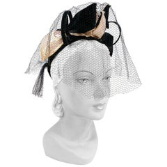 1930s Black Sculpted Cocktail Hat with Satin Bows and Net