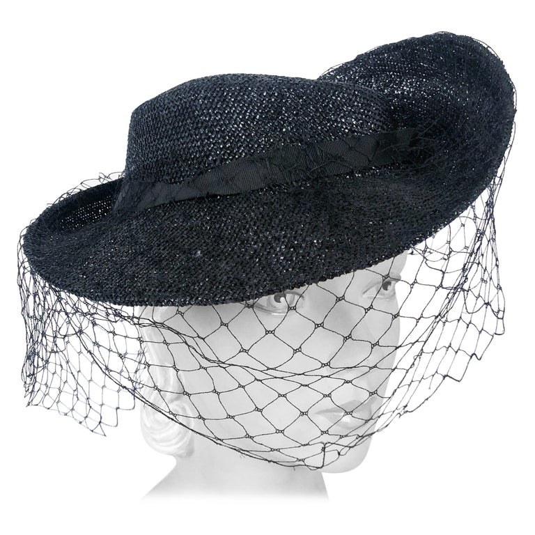 1930s Black Sculpted Straw Hat with Full Veil For Sale