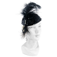 1930s Black Sequin Evening Cap with Feather and Rhinestone Accents