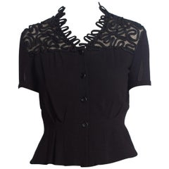 1930'S Black Short Sleeve Top With Lace & Passementerie Collar