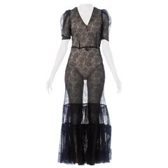 1930S Black Silk Chantilly Lace Gown With Tiered Ruffle Hem & Puff Sleeves