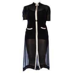 1930S  Black Silk Chiffon Sheer Chanel Style Art Deco Dress With White Rayon Tr