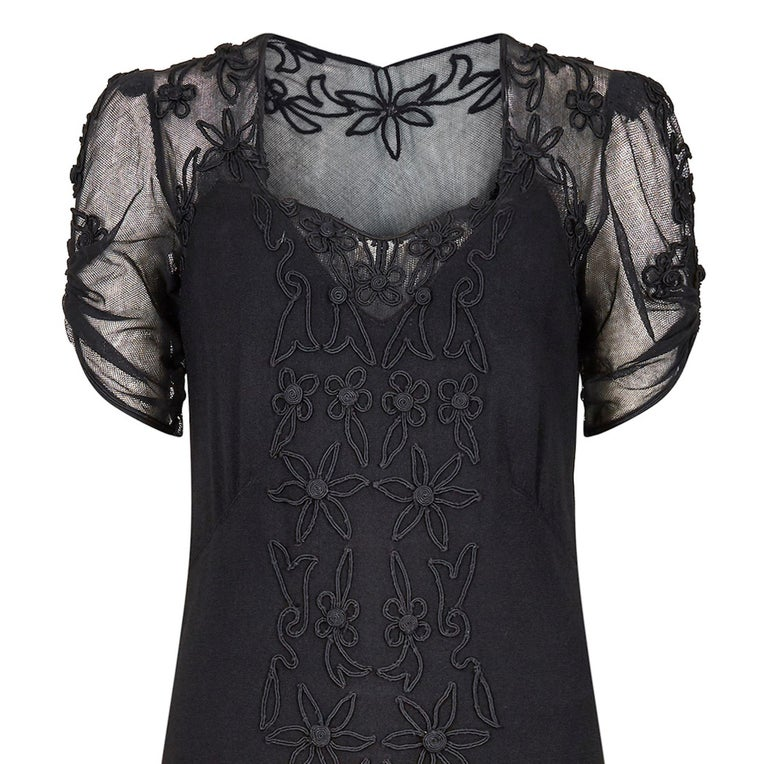 Women's 1930s Black Silk Crepe and Net Evening Dress With Floral Appliqué Embellishment For Sale